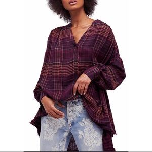 """Free People """"Come On Over"""" Plaid Top"""